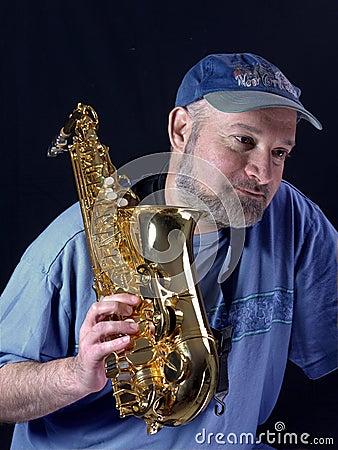 Saxophone player resting