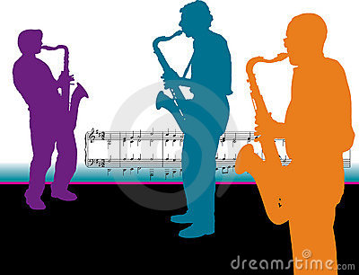 Saxophone Player Silhouettes