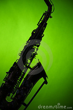 Saxophone in Silhouette on Green
