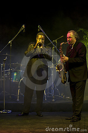 Saxophone and Trumpet Players at the Vienna Ball Editorial Photo