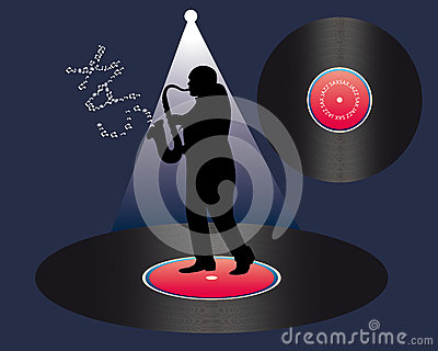Saxophonist and vinyl