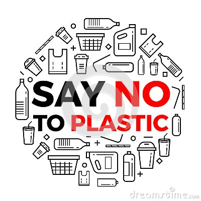 Free Say No To Plastice Text And Plastice Package Line Icons Sign Around Circle Vector Design Stock Photography - 121482112