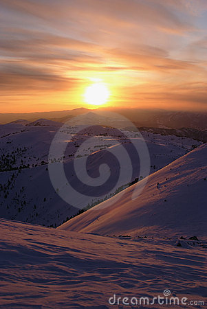 Sayan mountains.  Siberia.  Sunset