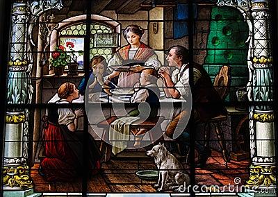 Saying grace - family dinner