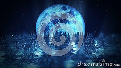 Scène de nuit de lune, illustration de forêt d'hiver, fond abstrait de nature, animation de paysage de boucle, illustration libre de droits