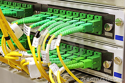 SC connectors in patch panel