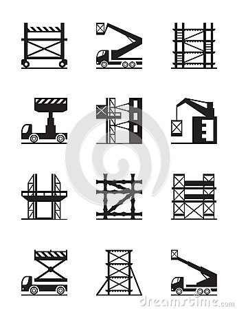 Free Scaffolding And Construction Cranes Icon Set Stock Photos - 41327193