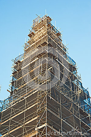 Scaffolding around an historic tower