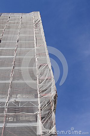 Scaffolding on church tower