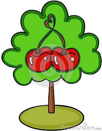 Love cherry tree Vector Illustration