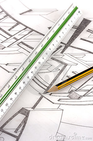 A scale ruler and pencil on a technical drawing