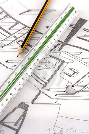 A scale ruler on a technical drawing