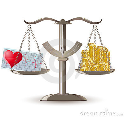 Scales choice health or money