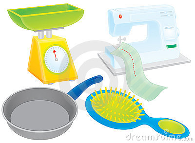 Scales, griddle, hairbrush and sewing machine