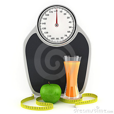 Scales, juice, apple and measuring tape