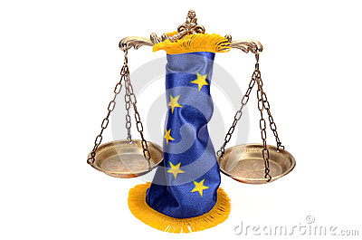 Scales of Justice and European union flag