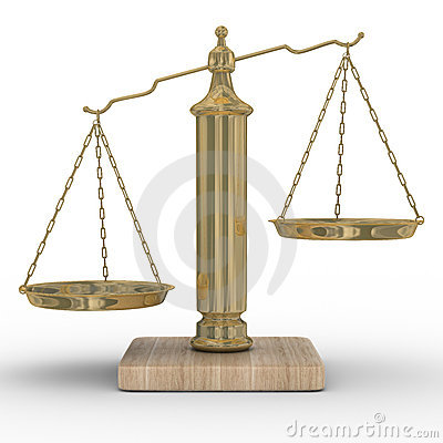 Scales justice on a white background