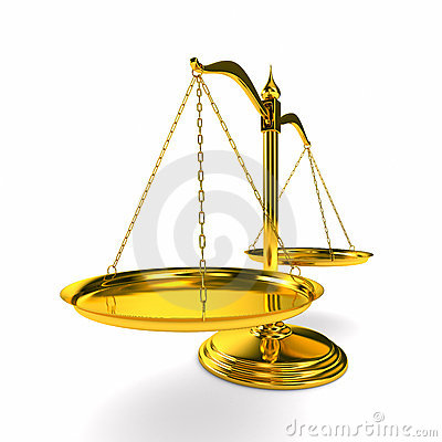Scales justice on white background. Isolated 3D