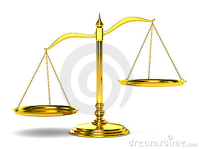 Scales justice on white background. Isolated 3D Stock Photo