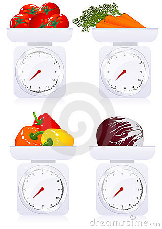 Scales with vegetables