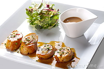 Scallops with salad and sauce