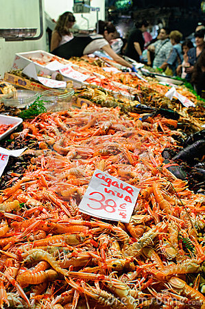 Scampi at fish market