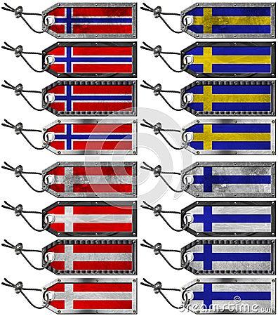 Scandinavia Flags Set of Grunge Metal Tags