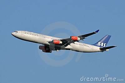 Scandinavian Airlines Airbus A340 Taking Off Editorial Image