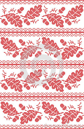 Free Scandinavian And Norwegian Folk Inspired Festive Autumn Seamless Pattern In Cross Stitch With Acorn, Oak Leaf And  Ornaments Stock Photography - 95216782