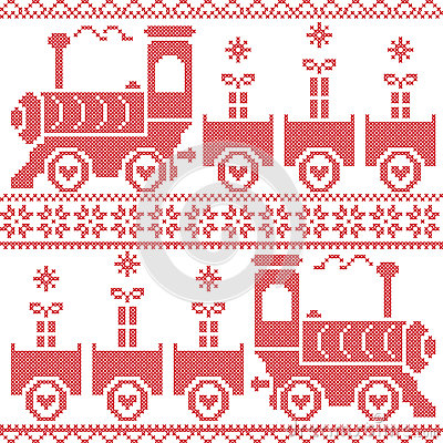 Free Scandinavian Christmas Nordic Seamless Pattern With Gravy Train, Gifts, Stars, Snowflakes, Hearts, Snow, In Cross Stitch Pattern Stock Photos - 57227023
