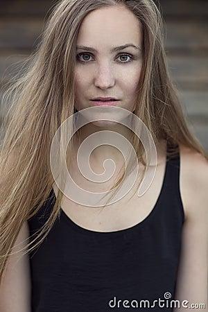 Scandinavian Fashion Woman Model Posing Outdoor Stock ...