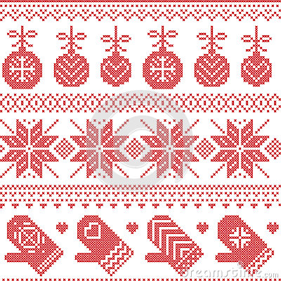 Scandinavian Nordic seamless Christmas pattern with Xmas baubles, gloves, stars, snowflakes, Xmas ornaments, snow element, hearts Vector Illustration