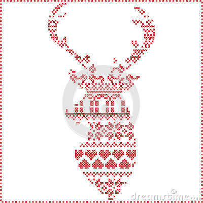 Free Scandinavian Nordic Winter Stitch, Knitting  Christmas Pattern In  In Reindeer Shape Shape Including Snowflakes, Xmas Trees Stock Images - 63434624
