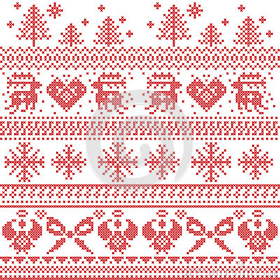 Free Scandinavian Nordic Xmas Pattern With Reindeer,rabbits, Xmas Trees, Angels, Bow, Heart, In Cross Stitch Stock Photo - 56800360