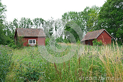 Scandinavian summer, traditional old red houses