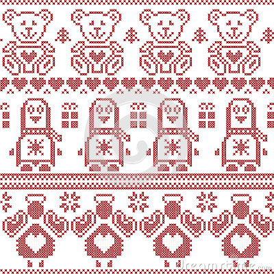 Free Scandinavian Vintage Christmas  Nordic Seamless Pattern With Penguin, Angel, Teddy Bear, Xmas Gifts, Hearts, Decorative Ornaments, Royalty Free Stock Photos - 57900508