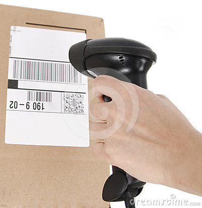 Scanning barcode on the box isolated on white