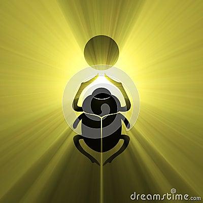Scarab beetle Egyptian symbol sun flare