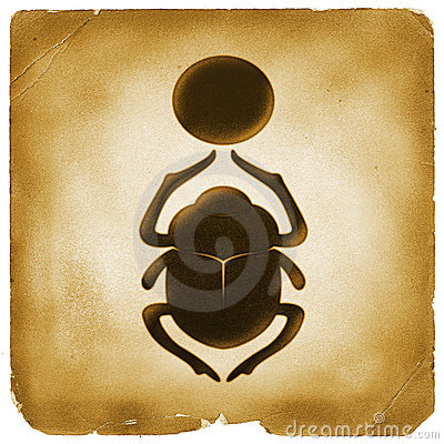 Scarab bettle Egyptian symbol old paper