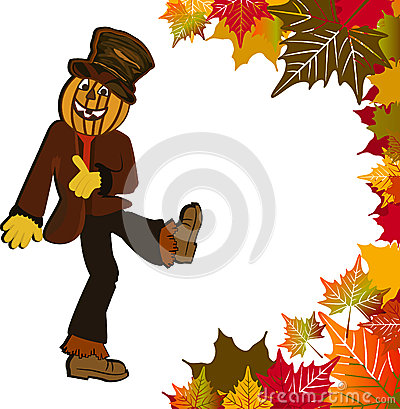 Scarecrow and fall leaves