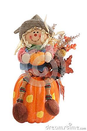 Free Scarecrow On Pumpkin Stock Photo - 3164940