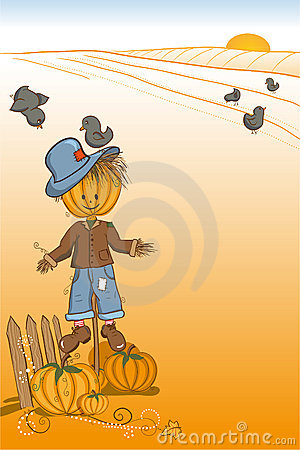 Scarecrow protecting pumpkins