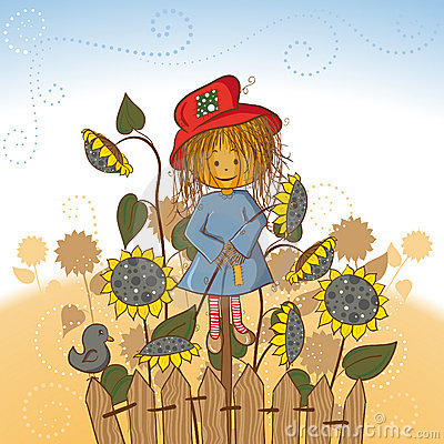 Scarecrow s girlfriend with sunflowers
