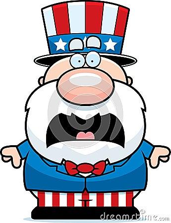 Scared cartoon patriot