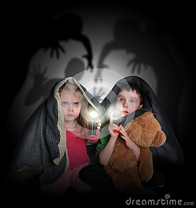 Free Scared Children Looking At Night Shadows Royalty Free Stock Images - 30748209
