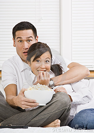 Scared Couple Watching TV