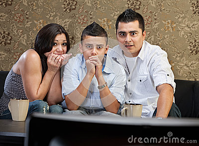 Scared Family Watching TV