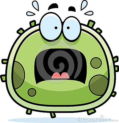 Cartoon illustration of a germ looking scared