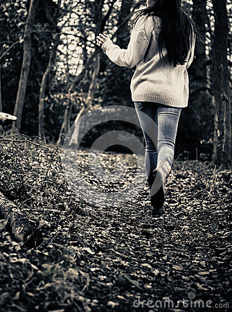 Scared Girl Running Royalty Free Stock Images Image