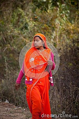 Scared indian female red sari Editorial Stock Photo